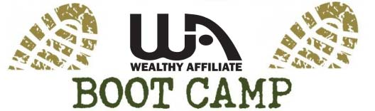 The Wealthy Affiliate Bootcamp logo consisting of 2 bootmarks pointing north-east and the WA logo in the middle.