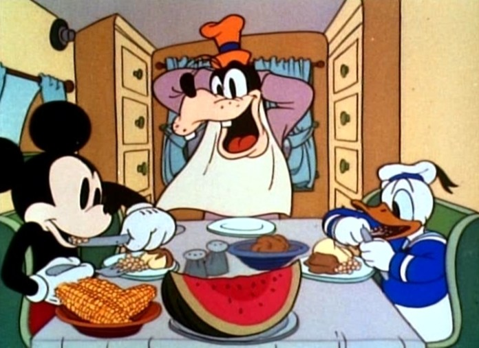 Mickey eating cheap