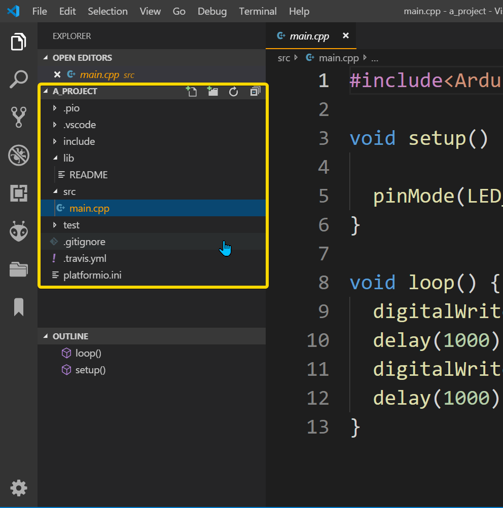 VSCode platformIO Directory view in a project