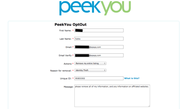 remove yourself from peekyou opt out removal