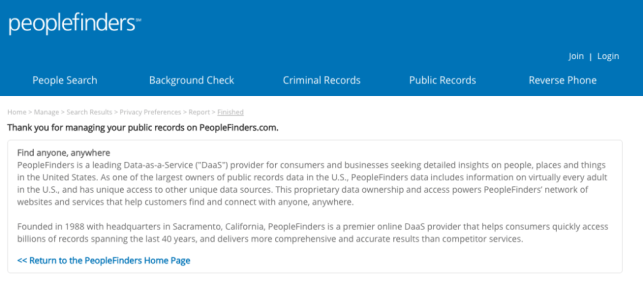 remove yourself from the public records peoplefinders opt out remove