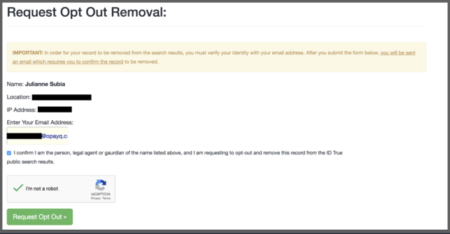 how to remove yourself from ID true opt out removal