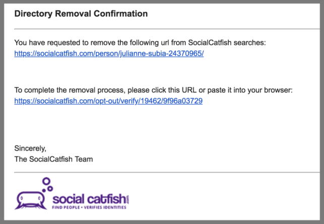 remove yourself from social catfish opt out removal