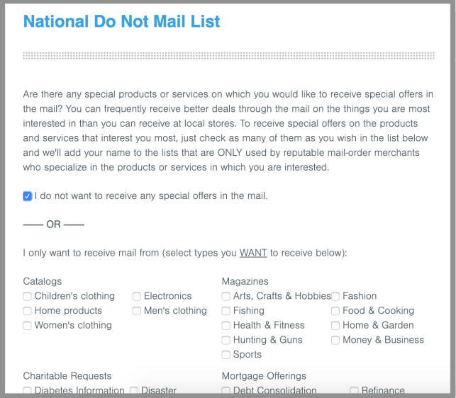 remove yourself from directmail.com direct mail opt out removal