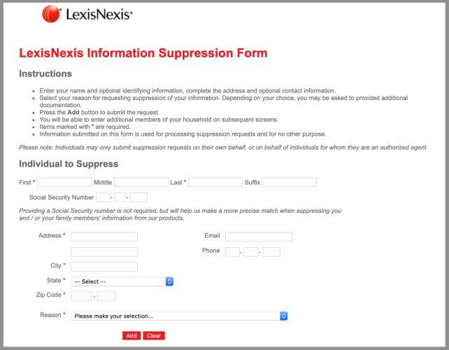 remove yourself from lexis nexis opt out removal