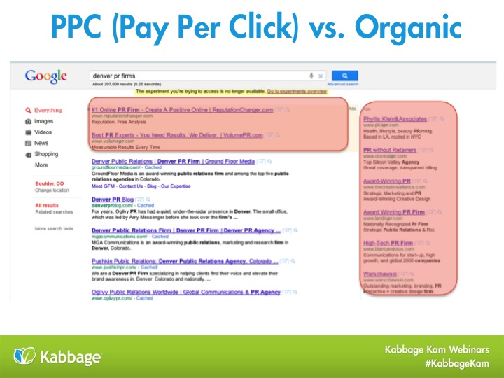 pay per click advertising vs. organic search results