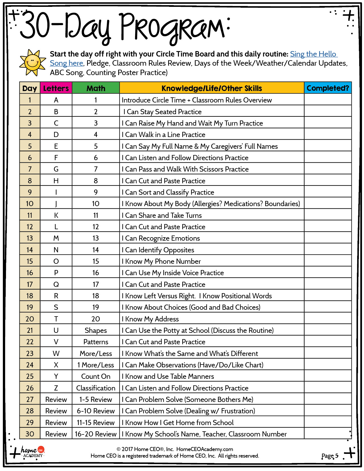 30 Day Kindergarten Quick Start Prep Program For The