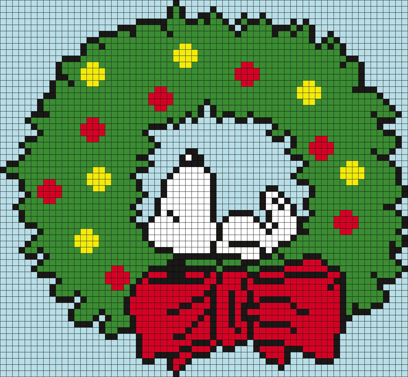Snoopy Wreath From Peanuts Square Grid Perler Bead