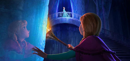 Anna inside Elsa's ice castle
