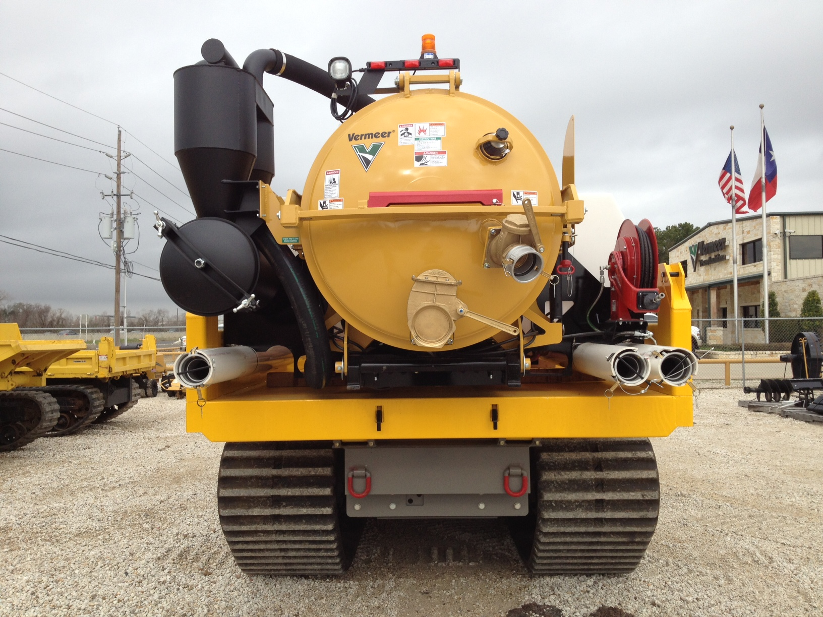 Vacuum excavator skid unit on crawler