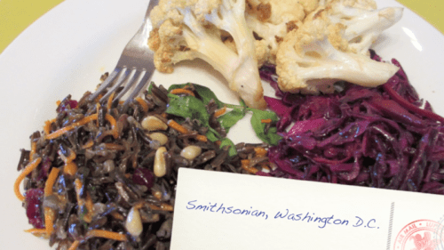 Mitsitam Cafe: wild rice salad, grilled cauliflower, and beet salad