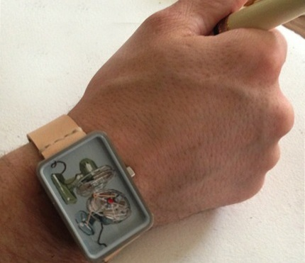 Natural hand made strap, brushed SS case, commissioned dial by Erin Berrett