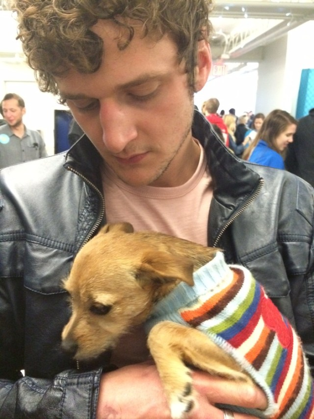 """""""Guys Reading Poems"""" star Jerod Meagher with a homeless puppy."""