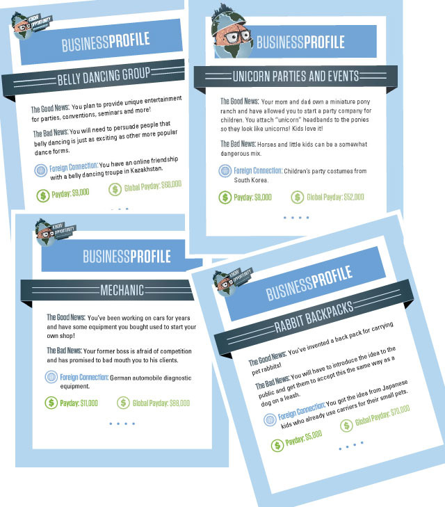 Some examples of the Know Opportunity profile game cards