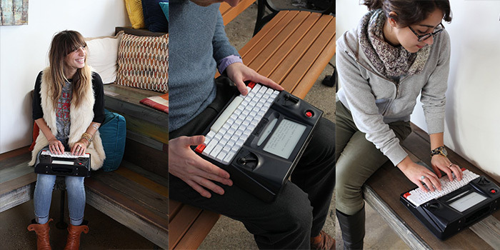 Three vertical images: a woman smiling with fingers posed on the keyboard, a cropped man holding Hemingwrite, and another woman posed and looking down, about to type. Blogged at Typewriter Poetry.