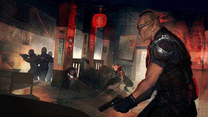 Un shadowrunner en problemas con un grupo de soldados.