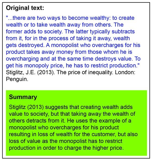 Summary example - Paraphrasing, quoting and summarising