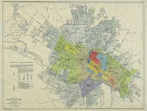 Maps   Architectural History   Richmond   Research Guides at     Special Collections and Archives holds a number of 19th and 20th century maps  of Richmond and Virginia including this 1923 map showing the nine separate