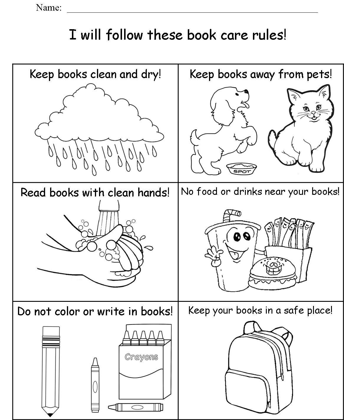Book Care Worksheet