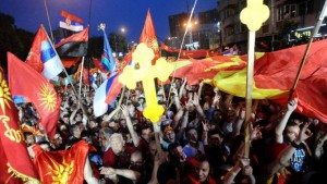 Pro-Government protesters at rally in Macedonia vastly outnumbered their Anti-Government counterparts.