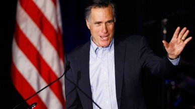 Former presidential candidate Mitt Romney speaks at the Republican National Convention winter meetings in San Diego