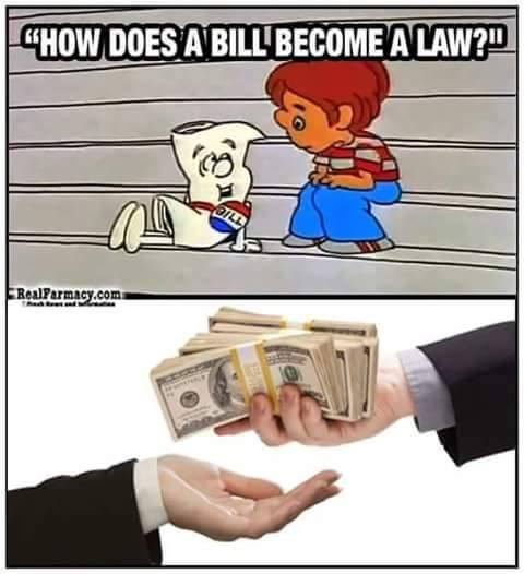 How does a bill become a law? Bribery.