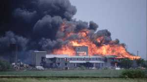 Branch Davidian compound in Waco being burned