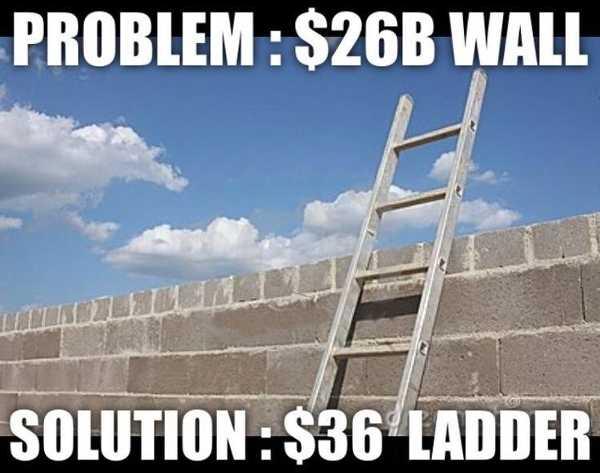 Problem: $26 billion wall. Solution: $36 ladder.