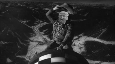 Donald Trump riding a missile