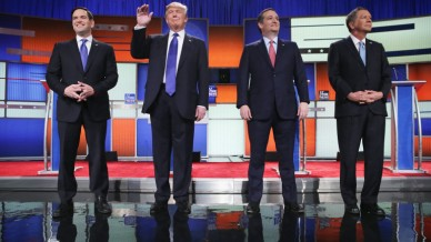DETROIT, MI - MARCH 03:  Republican presidential candidates (Lto R) Sen. Marco Rubio (R-FL), Donald Trump, Sen. Ted Cruz (R-TX), and Ohio Gov. John Kasich, participates in a debate sponsored by Fox News on March 3, 2016 in Detroit, Michigan. Voters in Michigan will go to the polls March 8 for the State's primary.  (Photo by Chip Somodevilla/Getty Images)