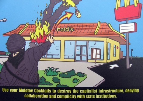 Typical anarchist destroying private property.