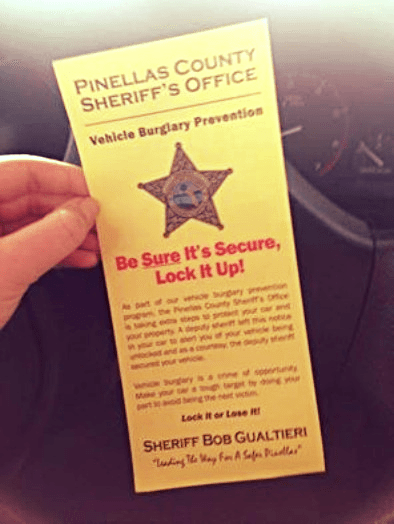 Sheriff's Office Breaking into Cars to Alert People of Burglary?