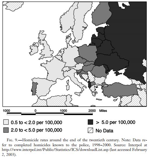 Homicide rates around the end of the twentieth century.