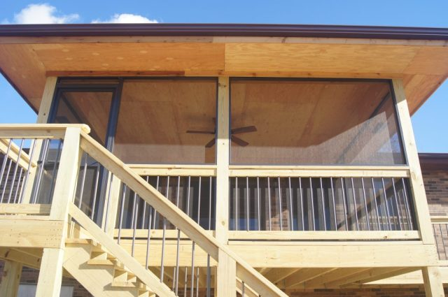 Construction of a screened in porch by TrueSon Exteriors