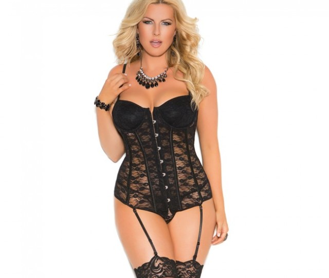Elegant Moments Plus Size Lace Underwire Front Closure Bustier Black Front