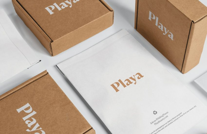 Playa bypasses plastic to ship in a suite of custom paper-based packaging.