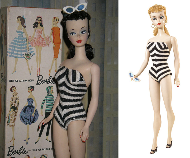 original barbie 1959 blonde brunette classic