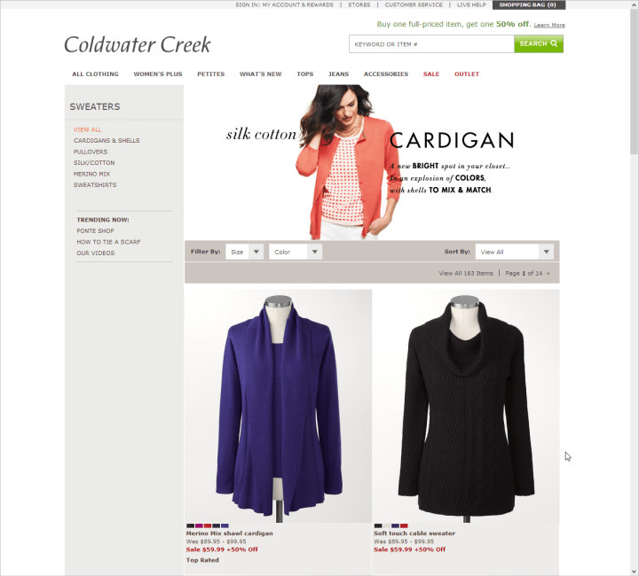Category page on ColdwaterCreek.com with large product images