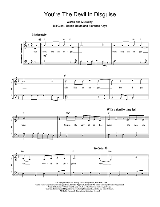 (You're The) Devil In Disguise sheet music by Elvis ...