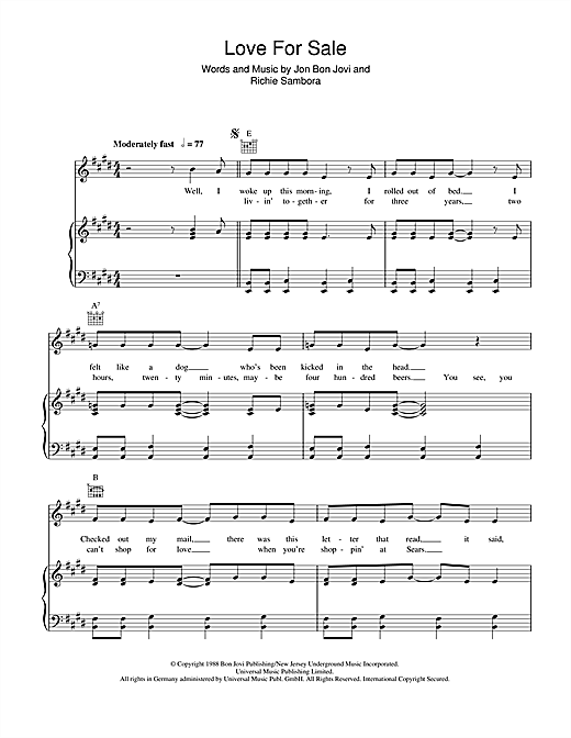 Love For Sale Sheet Music By Bon Jovi Piano Vocal