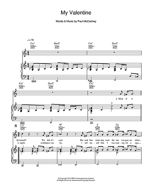 My Valentine Sheet Music By Paul McCartney Piano Vocal