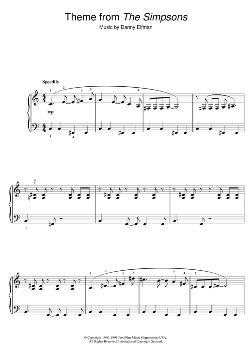 Theme From The Simpsons Sheet Music By Danny Elfman