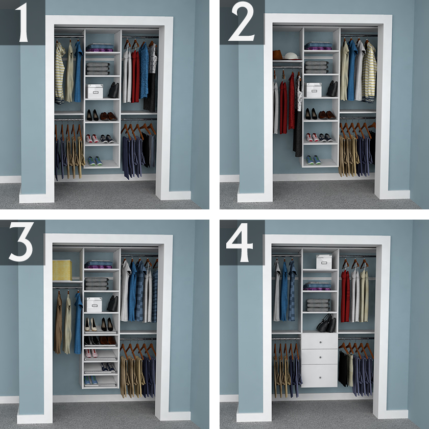 Design Ideas for 6 foot  3 foot  and 2 foot Reach in Closets     6 foot Closet