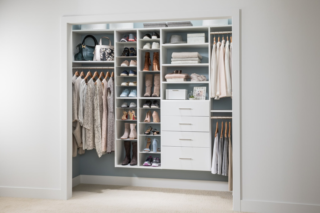 Reach In Closet With Adjustable Shoe Organizer EasyClosets
