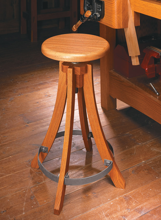 Swivel Shop Stool Woodworking Project Woodsmith Plans