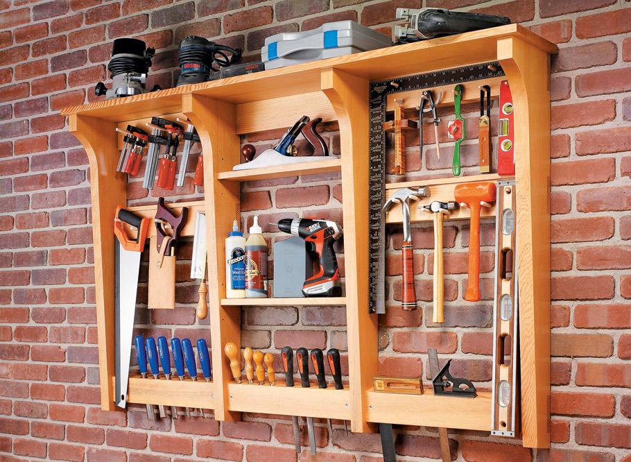 wall mounted tool rack woodworking