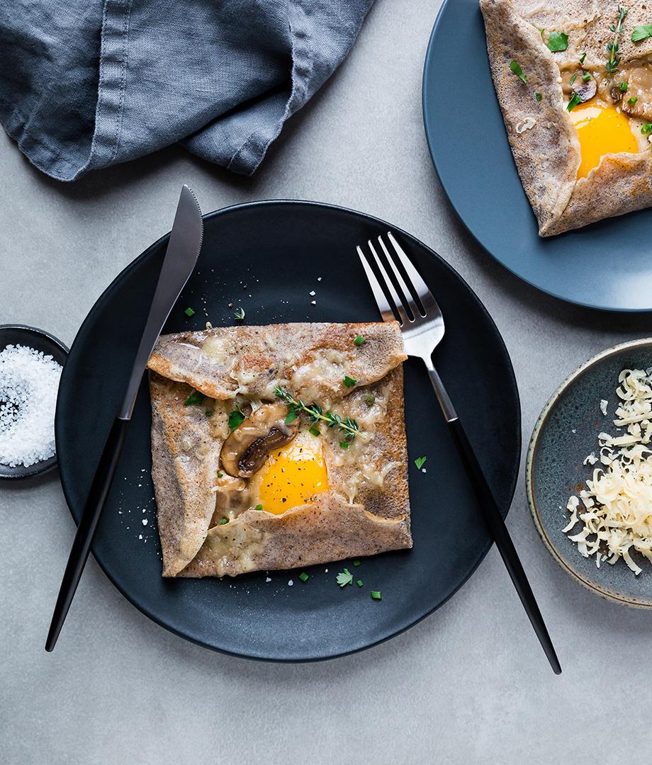 galettes de sarrasin œuf champignons et thym