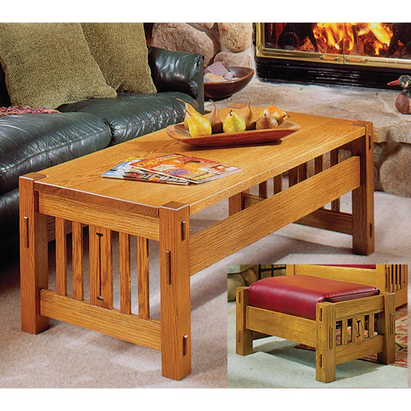 Arts and Crafts Coffee Table and Ottoman Woodworking Plan ... on Coffee Table Plans  id=45412