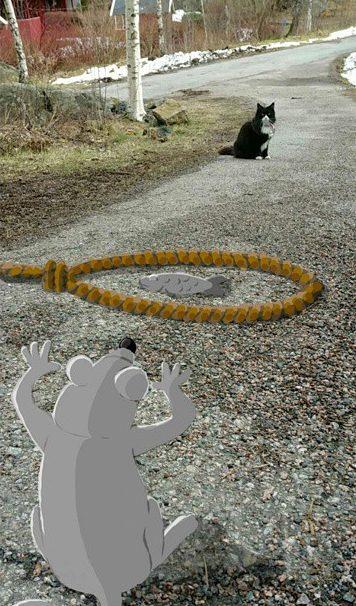divertidas animaciones de snapchat ratón poniendo una trampa a un gato