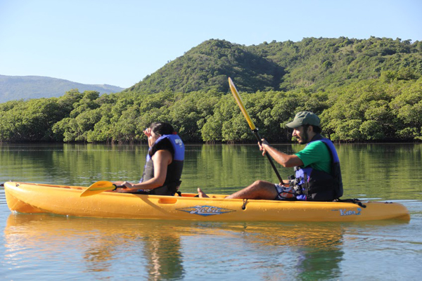 Oly and Manny looking for manatees while kayaking. Photo by: Tiffany Roufs.